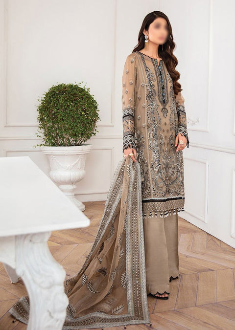 JAZ07 - Nirush - Unstitched - Jazmin Mahpare Luxury Chiffon Collection 2020 - Memsaab Online