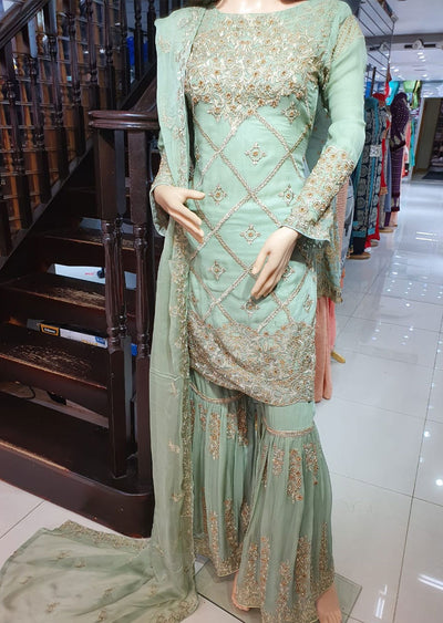 1468 Readymade Green Shararah Suit - Memsaab Online