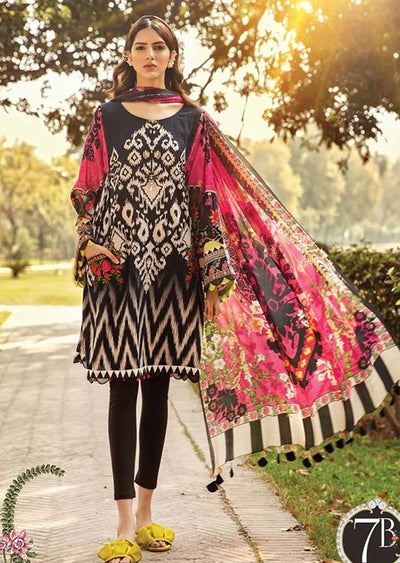 MBS07 - B - Unstitched - Maria B MPrints Summer Collection 2020 - Memsaab Online