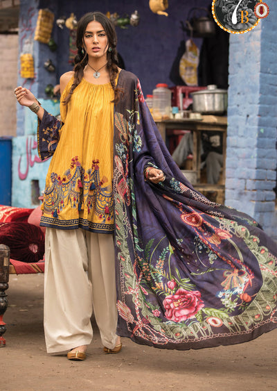 7B Maria B M Prints Unstitched 2019 - Pakistani Designer Embroidered Lawn Suit Spring / Summer UK DELIVERY - Memsaab Online