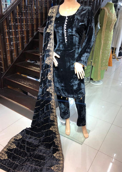 BLV507 Black Embroidered Velvet Suit - Memsaab Online