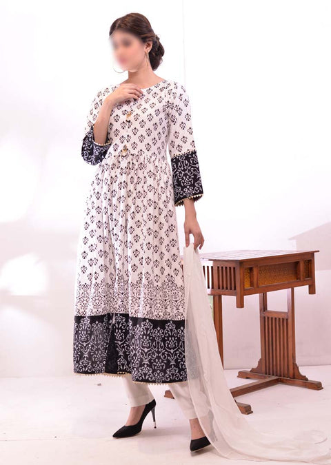 HK51 Mother & Daughter White Block Print Linen Dress - Memsaab Online