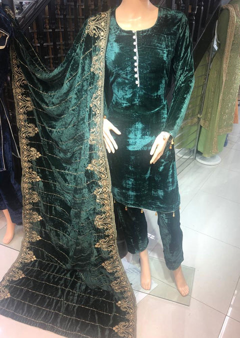 BLV507 Green Embroidered Velvet Suit - Memsaab Online