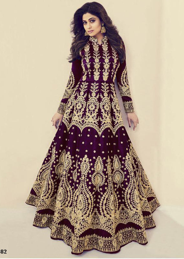 9e536f0e46 8082 - Unstitched - C - Aashirwad INSPIRED / REPLICA - India heavily  embroidery gown with