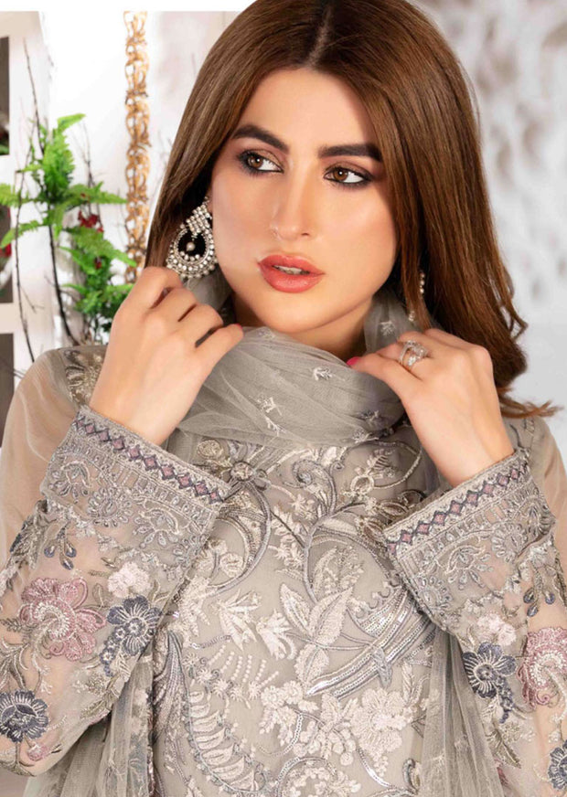 D-8573 Unstitched Tawakkal Blooming Orchid Chiffon Collection - Memsaab Online