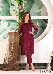 D-8579 Unstitched Tawakkal Blooming Orchid Chiffon Collection - Memsaab Online