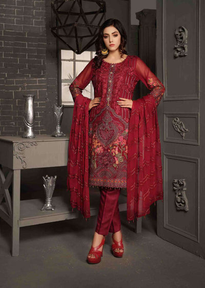 D-8602 - Unstitched - Le Grand Amour Chiffon Collection by Tawakkal 2020 - Memsaab Online