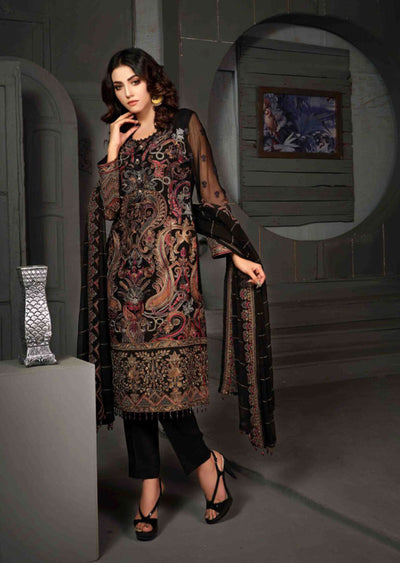 D-8607 - Unstitched - Le Grand Amour Chiffon Collection by Tawakkal 2020 - Memsaab Online
