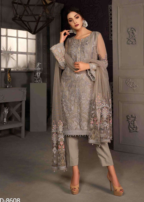 D-8608 - Unstitched - Le Grand Amour Chiffon Collection by Tawakkal 2020 - Memsaab Online