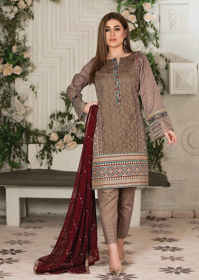 8668 Unstitched Elita Chickenkari Suit by Tawakkal - Memsaab Online