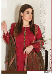 8670 Unstitched Elita Chickenkari Suit by Tawakkal - Memsaab Online