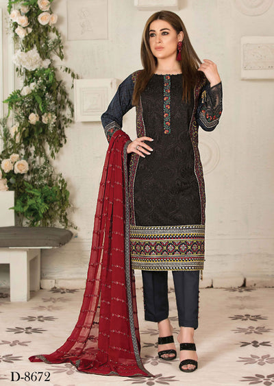 8672 Unstitched Elita Chickenkari Suit by Tawakkal - Memsaab Online