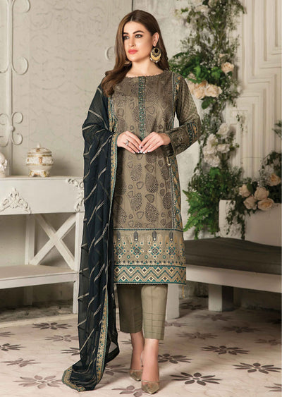 8673 Unstitched Elita Chickenkari Suit by Tawakkal - Memsaab Online
