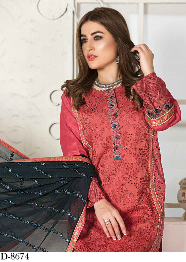 8674 Unstitched Elita Chickenkari Suit by Tawakkal - Memsaab Online