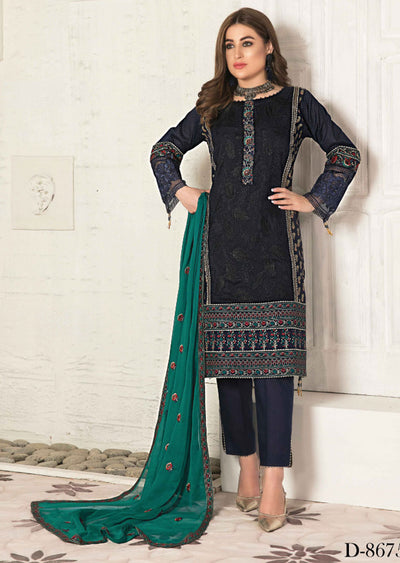 8675 Unstitched Elita Chickenkari Suit by Tawakkal - Memsaab Online