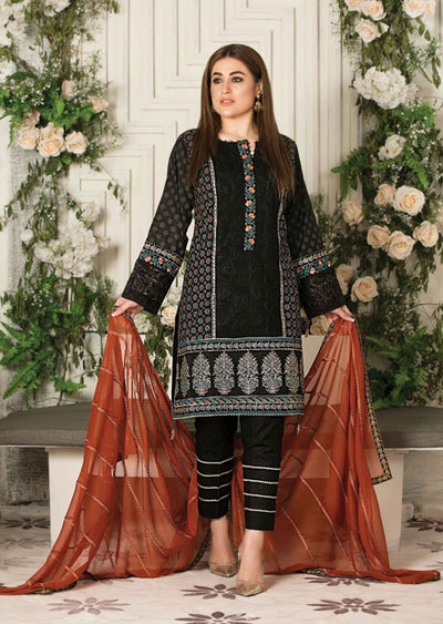 8676 Unstitched Elita Chickenkari Suit by Tawakkal - Memsaab Online