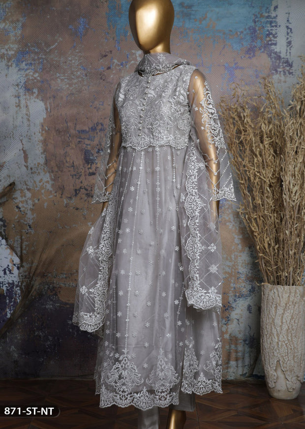 871 Grey Readymade Shaposh Embroidered Net Dress - Memsaab Online
