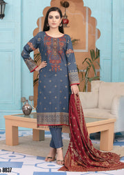 8837 Unstitched Elegante Gold Pearl Print Suit by Amna Sohail - Memsaab Online