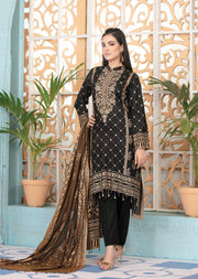 8838 Unstitched Elegante Gold Pearl Print Suit by Amna Sohail - Memsaab Online