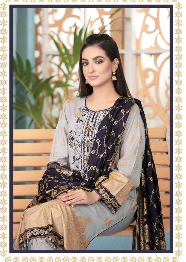 8840 Unstitched Elegante Gold Pearl Print Suit by Amna Sohail - Memsaab Online