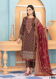 8843 Unstitched Elegante Gold Pearl Print Suit by Amna Sohail - Memsaab Online