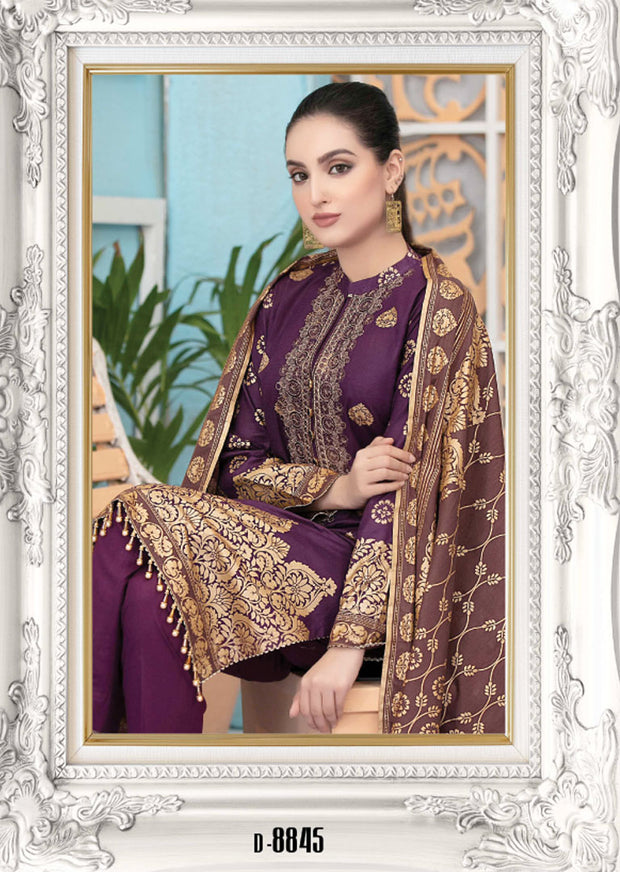 8845 Unstitched Elegante Gold Pearl Print Suit by Amna Sohail - Memsaab Online