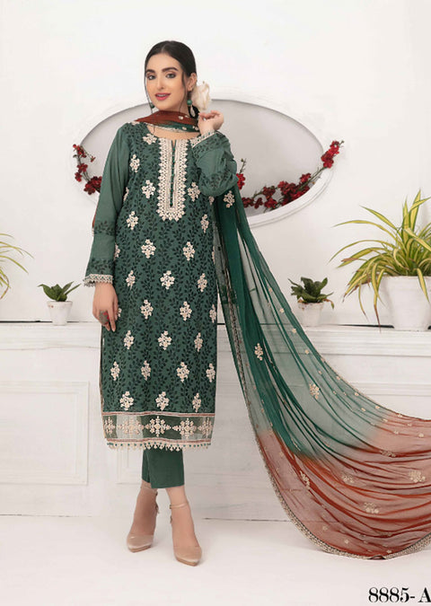 8885 - A - Unstitched Chikankari Ophelia Collection by Tawakkal 2020 - Memsaab Online