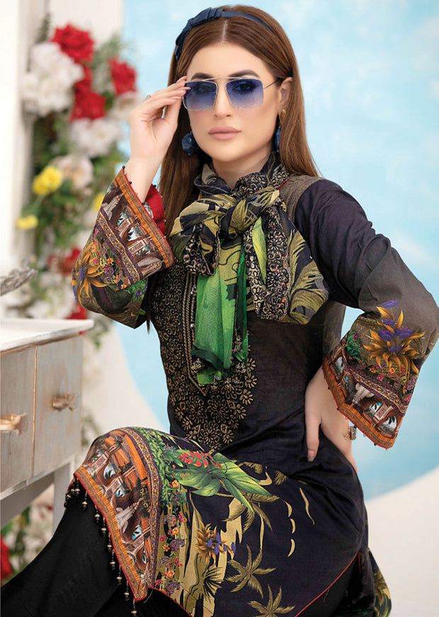 8898 Unstitched Belle Digital Print Lawn by Tawakkal - Memsaab Online