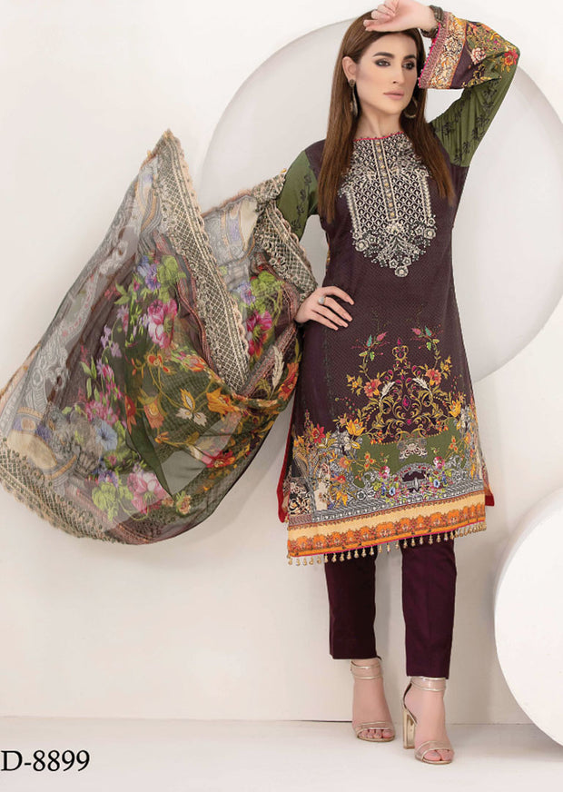 8899 Unstitched Belle Digital Print Lawn by Tawakkal - Memsaab Online