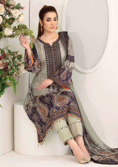 8902 Unstitched Belle Digital Print Lawn by Tawakkal - Memsaab Online