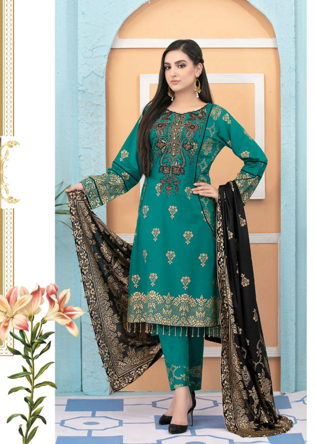 8936 Unstitched Elegante Gold Pearl Print Suit by Amna Sohail - Memsaab Online