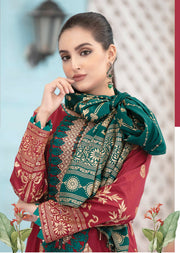 8939 Unstitched Elegante Gold Pearl Print Suit by Amna Sohail - Memsaab Online