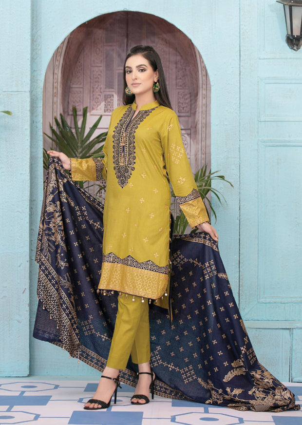 8941 Unstitched Elegante Gold Pearl Print Suit by Amna Sohail - Memsaab Online