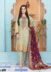 8942 Unstitched Elegante Gold Pearl Print Suit by Amna Sohail - Memsaab Online
