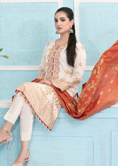 8944 Unstitched Elegante Gold Pearl Print Suit by Amna Sohail - Memsaab Online