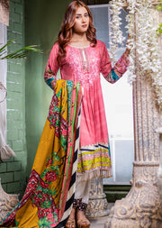 NU608 - Readymade - Pink Dress - Embroidered Linen Wool Shawl Collection 2019 - Memsaab Online