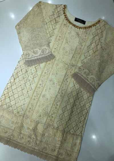 MK10 Cream Chiffon Embroidered Kurti / Shirt Readymade - Memsaab Online