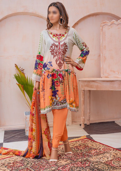 AMT20015 - Readymade Peach Embroidered Lawn Dress - Memsaab Online