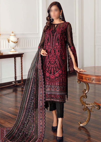 JZA08-A - Black Rococo - Unstitched - Jazmin Eid Festive Chiffon Collection 2021 - Memsaab Online