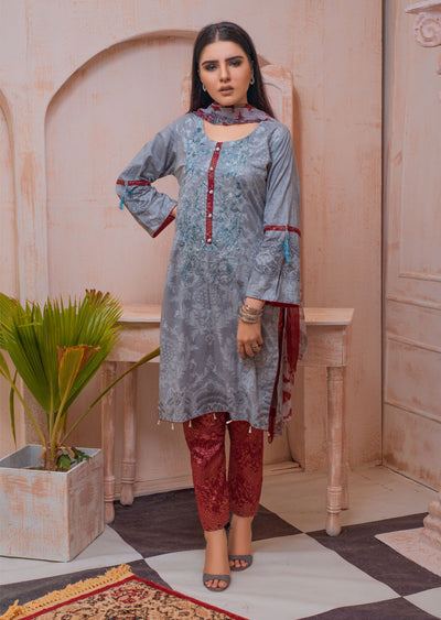 AMT20026 - Readymade Embroidered Lawn Suit - Memsaab Online
