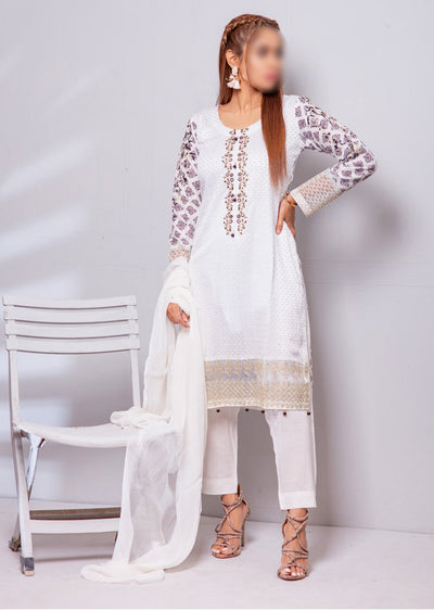 HK13 Readymade White Embroidered Linen Suit - Memsaab Online