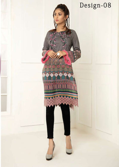 Design 08 - Nouroze Grey Lawn Embroidered Kurti - Memsaab Online