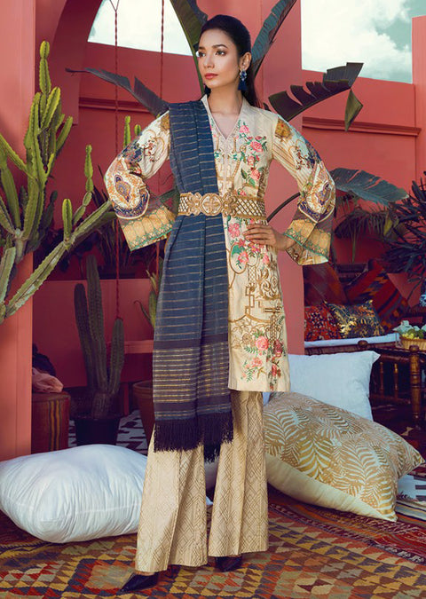 8B Rajbari Luxury Lawn 2019 - Pakistani embroidered cotton/lawn salwar kameez summer - Memsaab Online