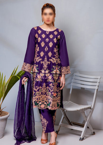 HK08 Readymade Purple Embroidered Linen Suit - Memsaab Online