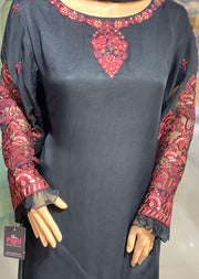 9047 Black Readymade Formal Shaposh Chiffon Suit - Memsaab Online