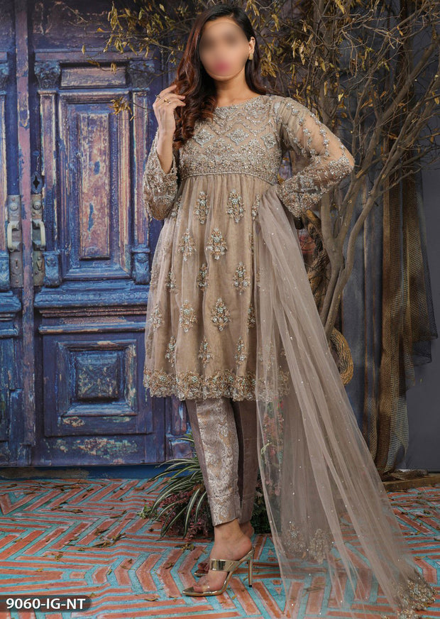 9060 Readymade Shaposh Heavy Embroidered Dress - Memsaab Online