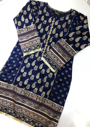 MR909 Readymade Blue Silk Kurti - Memsaab Online