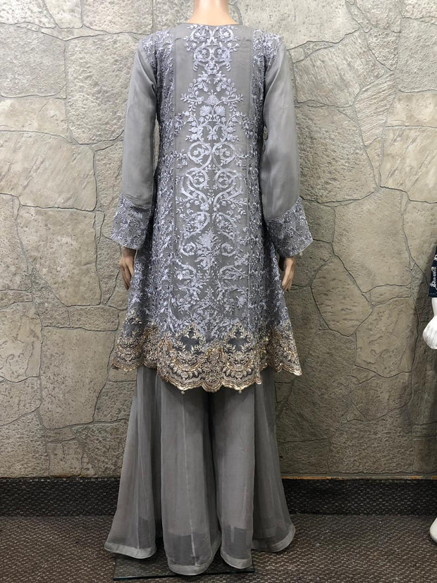 9222 - Zoon - Readymade - Grey - Chiffon A Line Dress with Shararah - Pakistani Designer Branded - Memsaab Online