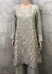 Zoon - Readymade - Nude - Chiffon A Line Dress with Shararah - Pakistani Designer Branded - Memsaab Online
