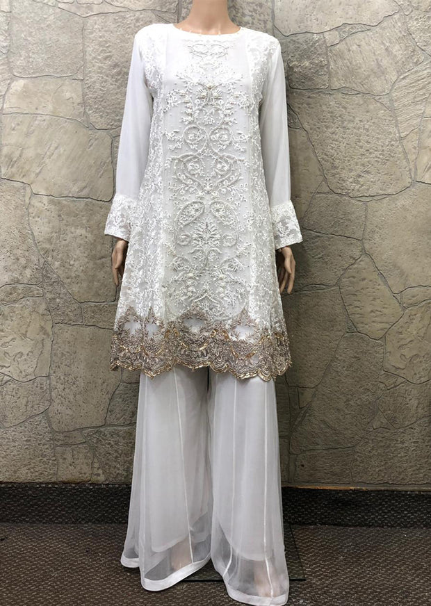 9222 - Zoon - Readymade - White - Chiffon A Line Dress with Shararah - Pakistani Designer Branded - Memsaab Online